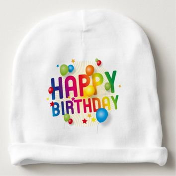 Happy Birthday Balloons Rainbow Baby Beanie