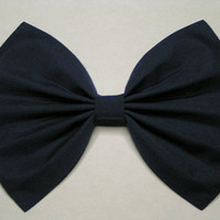 Large Navy blue fabric Hair Bow for Teens, Women and children, Hair Bows, Hair clip, Barrettes