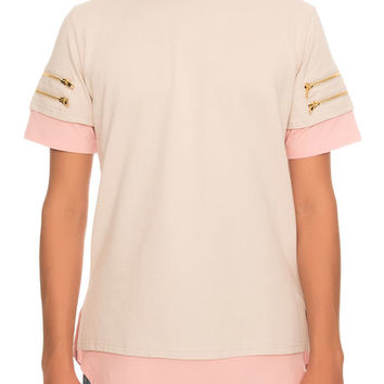 The Truce Zip Tee in Tan