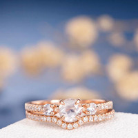 Moonstone Ring Set Unique Diamond Rose Gold Engagement Ring White Sapphire Antique Three Stone Bridal Anniversary Retro Birthstone Ring 2pcs