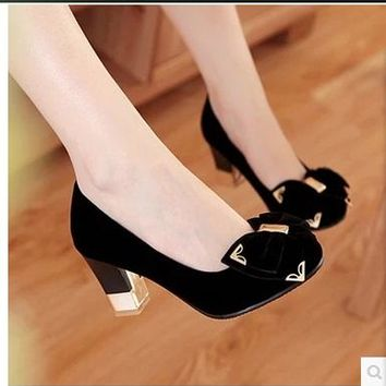 Catchpenny elegant suede  bow tie embellished chunky heels ~ 5 colors!!