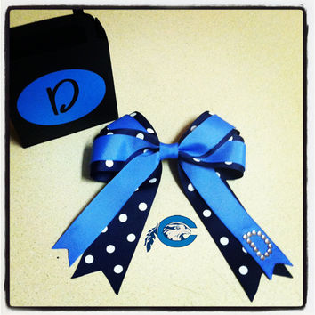 Chowan University Hair Bow with Initial.  More colleges available upon request.
