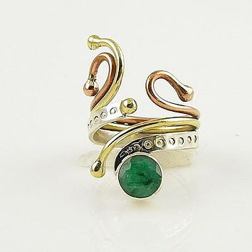 Emerald Three Tone Sterling Silver Adjustable Ring