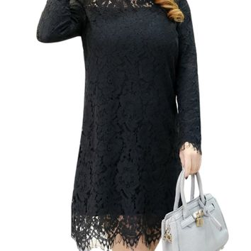 Streetstyle  Casual Band Collar Hollow Out Plain Lace Plus Size Shift Dress