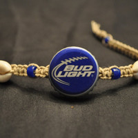 Bud Light Football Recycled Beer Cap Hemp Anklet