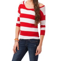 Striped 3/4 Quarter Sleeve Knit Top - Aeropostale
