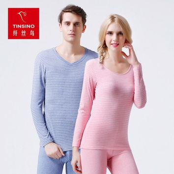 thin section long johns men and women V neck striped base primer sleepwear lingerie thermal underwear sets for couples pink