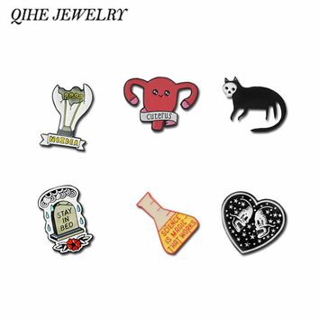 QIHE JEWELRY Skeleton Heart Skull Cat Tombstone Light Bulb Science Works Uterus Sternum Brooches Pins collection Punk Lapel pins