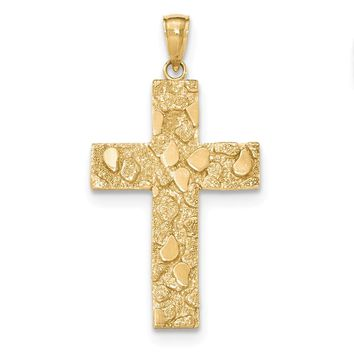 14K Yellow Gold Gold Polished and Textured Nugget Block Style Cross Pendant