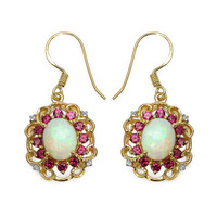 14K Yellow Gold Plated 4.94 Carat Genuine Ethiopian Opal, Rhodolite & White Topaz .925 Sterling Silver Earrings