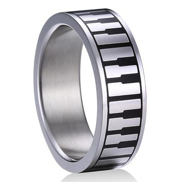 Top Quality Praise and Worship Stainless Steel Music Piano Keyboard Rings  for Men Women Unique Wedding Band Size 5 to 13