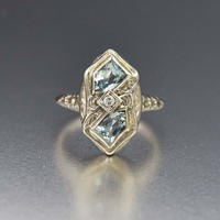Fine Art Deco 14K White Gold Aquamarine and Diamond Ring
