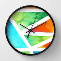 Water Color Triangles Wall Clock by J Rose
