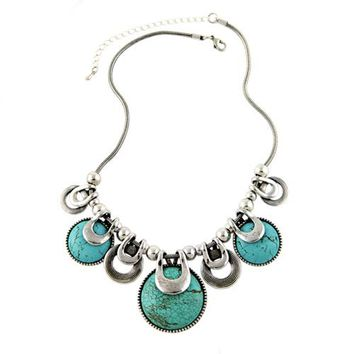 Natural Stones Chunky Chains Statement Necklace