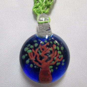TREE Hemp Necklace Glass Pendant - You Choose Color Hemp - Green, Lime Green, Orange