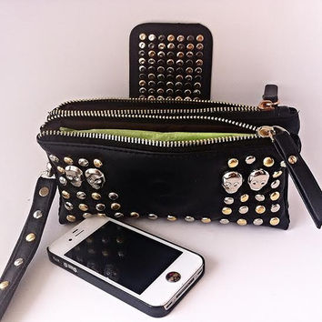 Faux (Vegan) BLING!  Leather Skull Clutch Wallet -  Gold Silver Rivets Studs Purse w/ Detachable Carry Strap