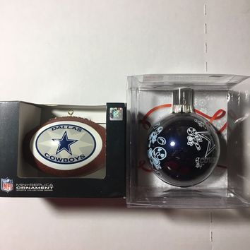 DALLAS COWBOYS NFL LOT OF 2 ASSORTED CHRISTMAS ORNAMENTS SHIPPING