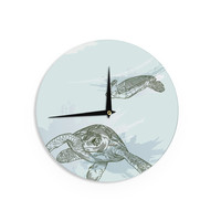"Sam Posnick ""Sea Turtles"" Green Blue Wall Clock"