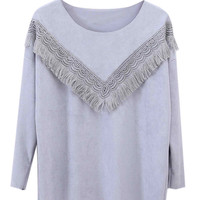 Gray Crochet Lace Tassel Sweatshirt