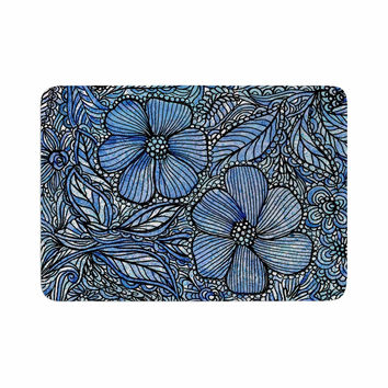 "Julia Grifol ""Blue Flowers In My Garden"" Aqua Navy Memory Foam Bath Mat"