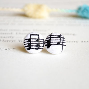 Button Earrings, Fabric Button Earrings, Musical Notes, Black and White, Music, Party Favors, Birthday Gifts
