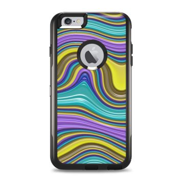 The Bright Purple Teal and Mustard Yellow Color Waves Apple iPhone 6 Plus Otterbox Commuter Case Skin