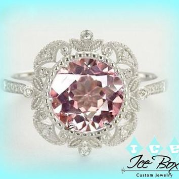 Morganite Engagement Ring, 14K White Yellow or Rose Gold, Morganite, Aquamarine or White Sapphire, Diamond Halo