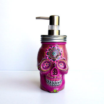Painted Skull: Hand painted glass Skull shaped Soap Dispenser Purple pizazz Pinkish Purple Sugar skull painted skull skull art