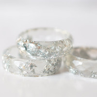 Thin Faceted Band Ring - Resin Stacking Ring - Transparent Ring With Silver Flakes - Minimal Resin Jewelry