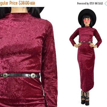 25%SALE vintage 90s red velvet maxi dress minimalist burgundy wine velour crushed velvet dress bodycon gothic witchy soft grunge small