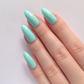 Mint Stiletto nails, Nail designs, Nail art, Nails, Stiletto nails, Acrylic nails, Pointy nails, Fake nails