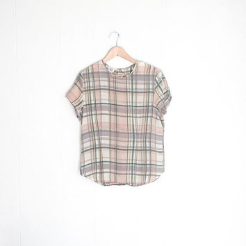 Vintage Silk Shirt - Short Sleeve Boxy - Crop Top - Womens Blouses - Boho Blouse - Pastel Grunge - 90s Shirt- Short Sleeve Plaid - Oversized