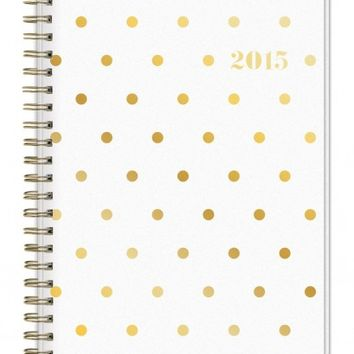 2015 Sugar Paper Polka Dot Weekly/Monthly Planner Wire-O 5x8