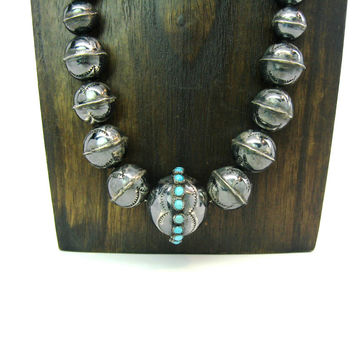 Navajo Beads Necklace. Handmade Stamped Sterling Silver Pearls. Petit Point Turquoise Center Bead. Vintage Native American Jewelry 25 inches
