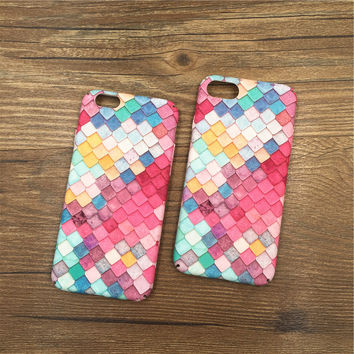 3D Pink Rainbow Mermaid Scales Case Cover for iPhone 7 7Plus & iPhone 6 6 Plus +Gift Box
