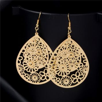 SHUANGR Gold / Silver Indian Flower Water-Drop Earrings - 1 Pair (2 Colors)