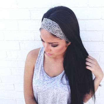 Yoga Headband in Dark Grey Metallic Lace
