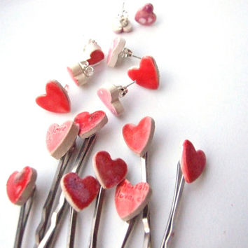Heart bobby pins 2 cute red or pink glazed ceramic hair pins, Valentine's Day