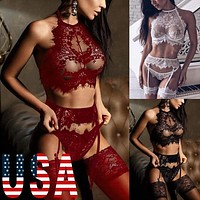 Women Sexy-Lingerie Nightgown Babydoll Panties Underwear Lace Bra Set Sleepwear