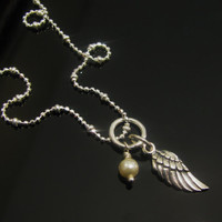 Tiny ANGEL WING NECKLACE Sterling Silver Solid Angle Wing and Pearl Necklace Gift for Yourself or Loved One