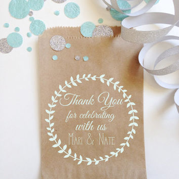 Wedding Favor Bags, Country Laurel Wreath, Unique Wedding Bridal Favors, Boho Chic, Candy, Cookie Buffet or Cake bags, Chalkboard Ink
