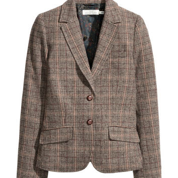 Checked Wool-blend Blazer - from H&M