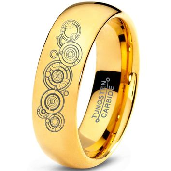 Doctor Who 18k Golden Yellow Dome Polished Tungsten Ring