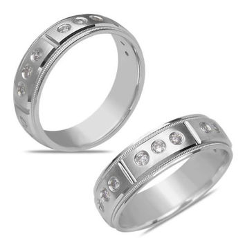Men's 1/2CT Diamond Solid Eternity Band in 14k White Gold
