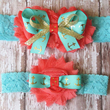Something Blue Anchor Wedding Garter Set | Coral, Blue, Gold Anchors Wedding Garters...Bridal Garter and Toss Garter