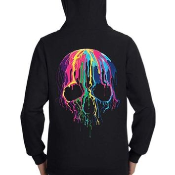Melting Skull Zip Up Hoodie Sweatshirt Black S M L XL Plus Size 1x 2x 3x 4x 5x