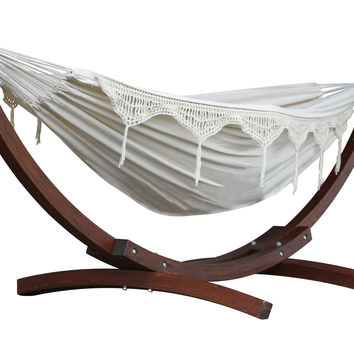 Double Cotton Hammock with Solid Pine Arc Stand - (8 foot)