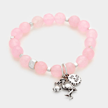 Pink & Silver It's a girl flamingo stork charm beaded stretch bracelet