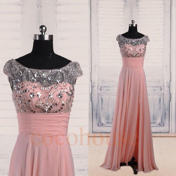 Pink Beaded Long Prom Dresses, Bridesmaid Dresses 2015, Homecoming Dresses ,Evening Dresses,Hot Party Dresses ,Wedding Party Dresses