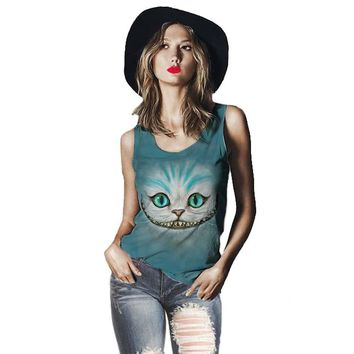 Track Ship+Vintage Retro Cool Vest Tanks Tank Camis Smile Ghost Cheshire Cat Alice Alice's Adventure in Wonderland